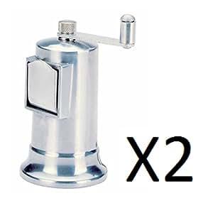 """Norpro 4"""" Adjustable Pepper Mill Fine To Coarse Grinder Metal 3 oz (2-Pack)"""