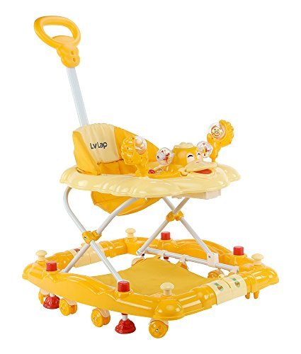 LuvLap Comfy Baby Walker with Rocker – Light Yellow
