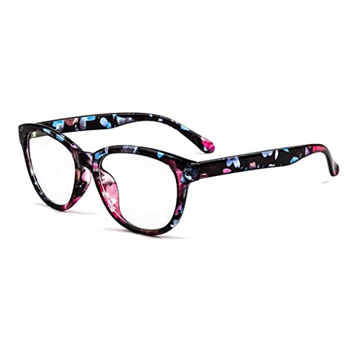 BXT Unisex Womens Mens Full Rim Round Clear Lens Plain Glasses Eyeglasses UV Radiation Protection,Anti Blue Ray, Anti-reflective, Anti-glare Computer Reading Gaming Glasses Eyewear - Eyewear Flare