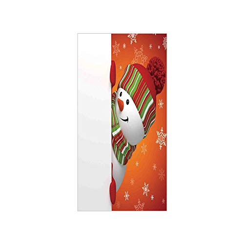 - 3D Decorative Film Privacy Window Film No Glue,Christmas,Cute Snowman with Mittens and Hat and Scarf Year Celebration Festive Design,White Orange,for Home&Office