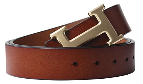 Brown Designer Belts - Fashion Designer Gold H Buckle Unisex Belt for Men or Women {3.8cm Belt Width} (110cm (Waist 32