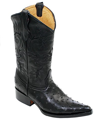 Dona Michi Cowboy Boot's Leather Ostrich Back Cut 2X Toe Cowboy Handmade Luxury Boots Black-9
