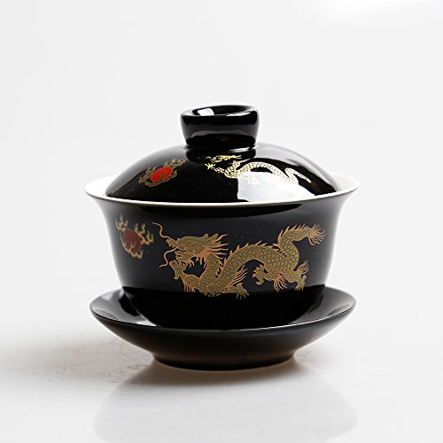 Black Dragon Porcelain Gaiwan(chinese Traditional Tea Cup