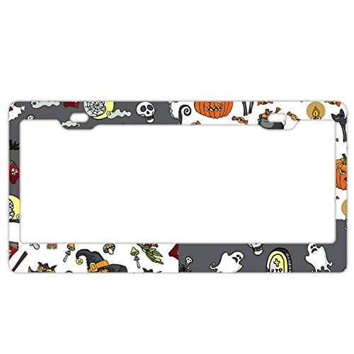 YEX Halloween Party License Plate Frame Car Licence Plate Covers Auto Tag Holder Tag Sign 12