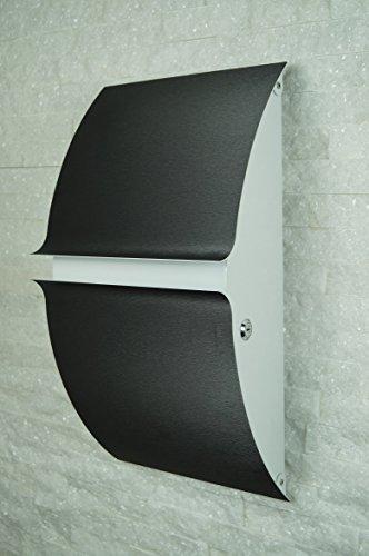 Designer Briefkasten Postkasten Wandbriefkasten Mod.111 anthrazit-weiß massiv und extrem stabil XXL-Größe!