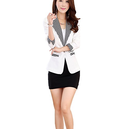 Aro Lora Women's Long Sleeve Plaid Lapel One Button Jacket Blazer Suit US 2-4 White (Suit Jackets For Women 2 Button)