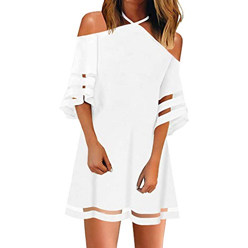 Masun Women's Perspective Striped Top 3/4 Flare Sleeve Loose Cold Shoulder Elegant Top Dress (XL, White E)