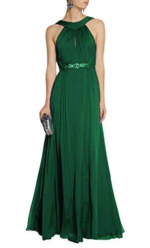 DAPENE® Women's Elegant Strap Backless Maxi Long Evening Dress Green