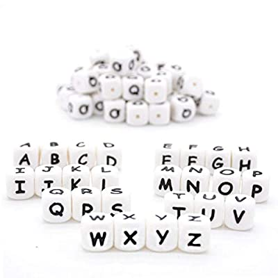 Kojoon Silicone Alphabet 26 Letter Beads DIY Cube 12mm 100pc Silicone Loose Teething Beads: Arts, Crafts & Sewing