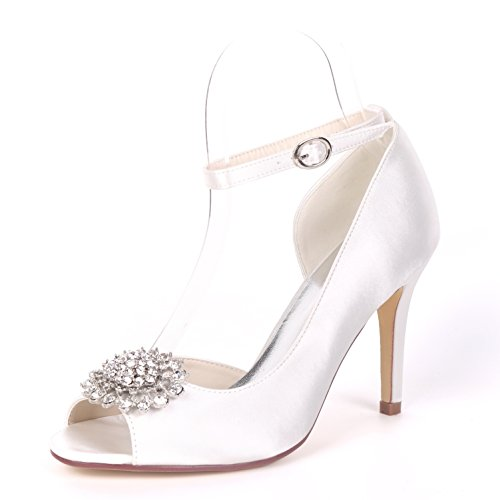 L@YC Women Wedding Shoes Buckle Salsa Peep Toes 9cm Heel Platform Low Heels Satin Rhinestones White
