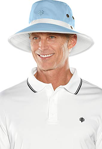 Adjustable Performance Visor - Coolibar UPF 50+ Men's Women's Matchplay Golf Hat - Sun Protective (Large/X-Large- Vintage Blue/White)