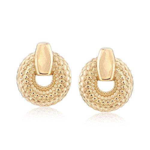 Ross-Simons Italian 18kt Gold Over Sterling Silver Patterned Doorknocker Earrings ()