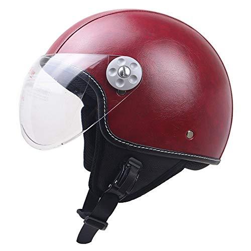 Half-Helmet-for-Motorcycle-Racing-Jet-Pilot-Training-Micrometric-Buckle-Moped-Chopper-Helmet-with-Sun-Visor-DOT-Certified-Unisex-Universal-Wine-Red-Leather-55-62cm