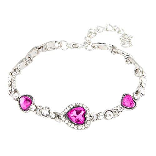 Hot Diamonds Silver Mens Bracelets (Vibola heart-shaped zircon crystal diamond bracelet (Hot Pink))