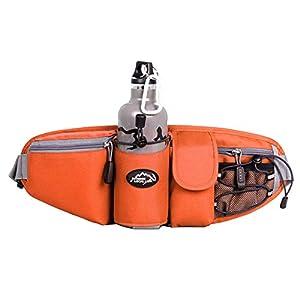 OrrinSports 3-Zipper Nylon Water Resistant Running Waist Bag with Water Bottle Holder (Not Include the Bottle) Orange