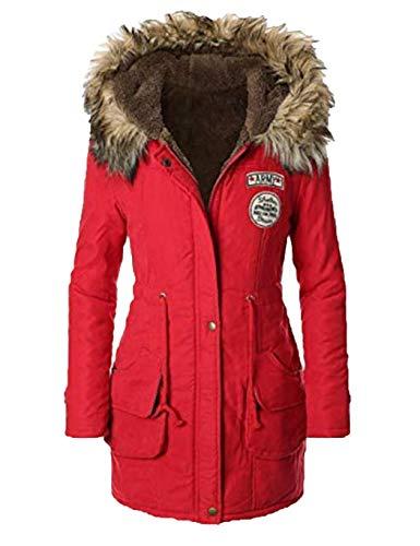 Zipper Hiver Parka Fourrure Capuche Rouge Trench Blousons Longues Manteau Chaud À Acecoreefemmes vqwOA54O