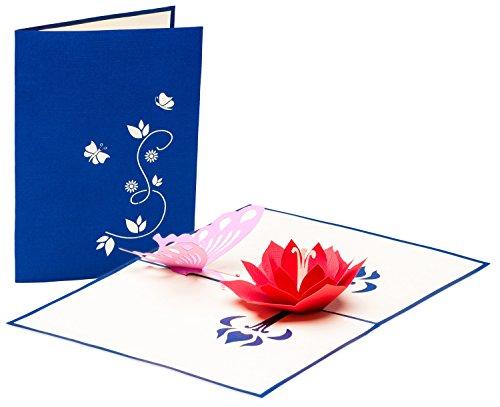 Grußkarte mit Schmetterling und Blüte, 3D Pop up, handgefertigt, Karte, Liebe, Grußkarten, Geburtstagskarte, Glückwunschkarten, Valentinstag, Valentinstagskarte, Karte zur Verlobung, Verlobungskarte, Karte zum Geburtstag, Frühling, Sommer, Glückwunschkarte, Karte zum Geburtstag
