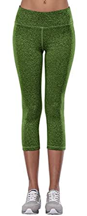 Aenlley Womens Activewear Yoga Pants High Rise Workout Gym Spandex Tights Leggings Color Green Size M