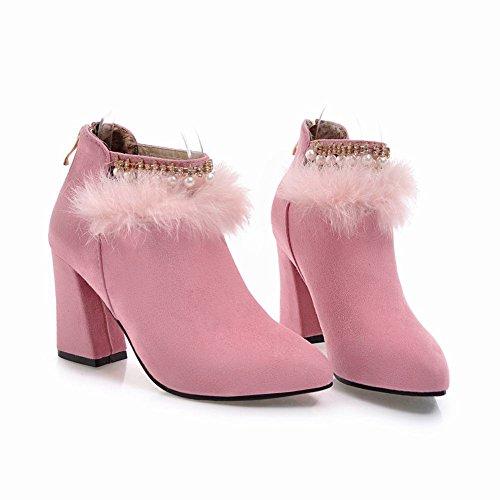 MissSaSa Damen chunky heel Spitz Strass Riemchen-Pumps/Boots Rosa