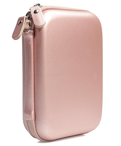 Rose Gold Carrying and Storage Case Travel Bag for HP Sprocket Plus Instant Photo Printer, Mobile Printer Plus, Instant Photo Printer, Inner Pocket for Printing Paper, Cable and Other Accessories