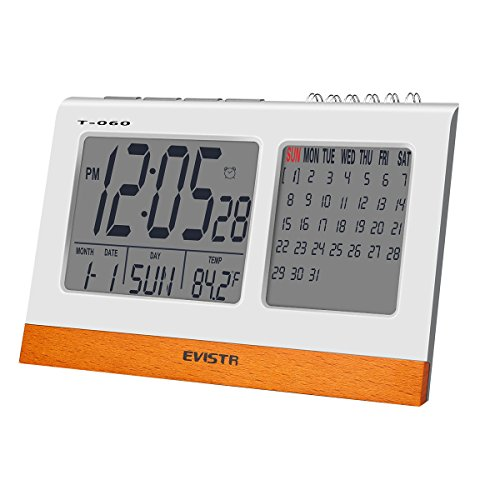 - EVISTR Digital Clock Large Display - Desk Clock Battery Operated Alarm Clock with Calendar, Date, Temperature for Office