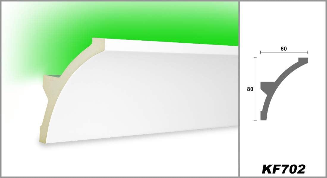 2 M/ètres PU Profil Coinc/é Moulure en Stuc Lumineuse LED Stuc 80x60mm KF702
