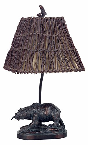 Antique Bronze 60 Watt 22in. Country/Rustic Resin Bear Table Lamp with On/Off Switch and Square Hardback Wicker Shade Antique Bronze Hardback Shades