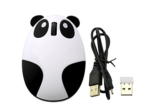 Wireless Optical Cartoon Panda Mouse Rechargeable Mini 2.4GHz Wireless Panda Desktop Laptop Unique Novel Portable(Black & White) ()