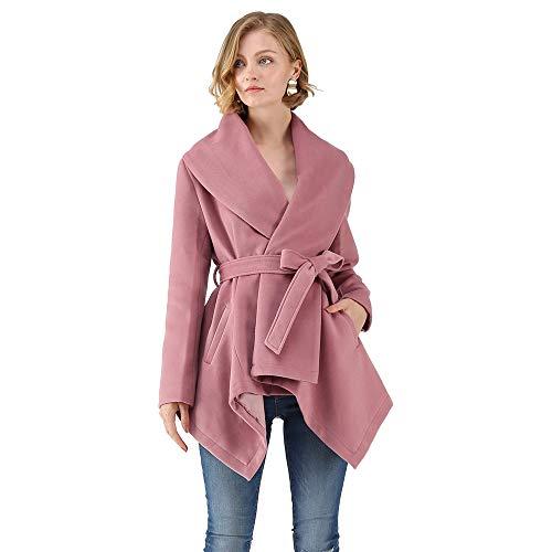 3dd93251a23 Galleon - Chicwish Women s Turn Down Shawl Collar Open Front Long Sleeve  Pink Asymmetric Hemline Wool Blend Coat