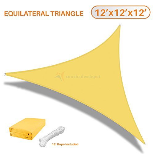 TANG Sunshades Depot 12 x12 x12 Equilateral Triangle Waterproof Terylene Knitted Shade Sail Curved Edge Yellow 220 GSM UV Block Shade Fabric Pergola Carport Awning Canopy Replacement Awning