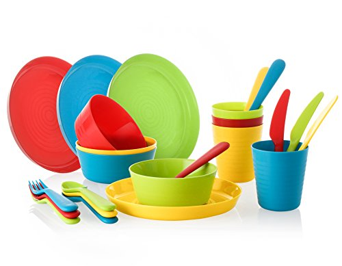 Complete Plastic Dinnerware Cutlery Set - 24 Piece Bright Durable Utensils Dinner Ware for Toddlers & Kids, 4 Plates, Bowls, Cups, Knives, Spoons and Forks - BPA-free, Dishwasher & Mic - Edge Milk Glass Plate