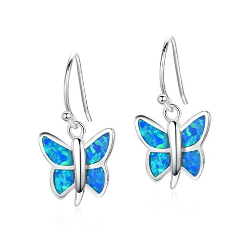 Rhodium Butterfly Earrings - Canmiya Rhodium Plated Sterling Silver Synthetic Blue Opal Butterfly Dangle Earrings
