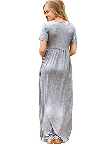 Les Femmes Maketina Manches Courtes Robes Longues Plaine Lâche Froncé Robe Maxi Casual Avec Des Poches Grises