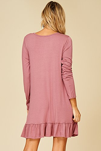 Hem Dresses Annabelle Round Pocket Long Womens Ruffle Neck Ash Mauve Sleeve xHFCwqPA