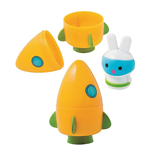 Fun Express - Space Bunny Filled Carrot Rocket Egg for Easter - Party Supplies - Pre - Filled Party Favors - Pre - Filled Plastic Containers - Easter - 12 Pieces -