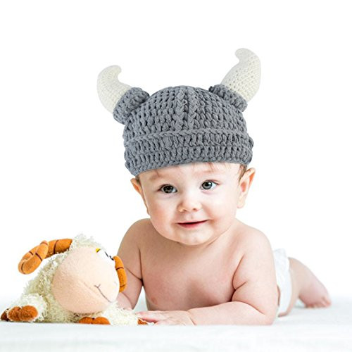 Knitted Hat with Cute OX Horn Unisex Baby Knit Crochet with bullhorn Winter Ox Horn knitted Beanie Viking Crochet Hats Handmade for Parents and Baby-P…