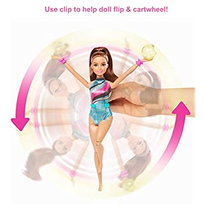 Barbie Dreamhouse Adventures Teresa Spin 'n Twirl Gymnast Doll, 11.5-Inch Brunette, in Leotard, with Trampoline and Gymnastics Accessories, Gift for 3 to 7 Year Olds: Toys & Games