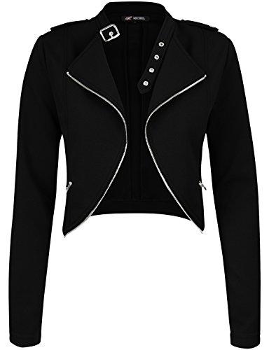 Michel Womens Fleece Jacket Classic Crop Rider Zip UP Jacket Small