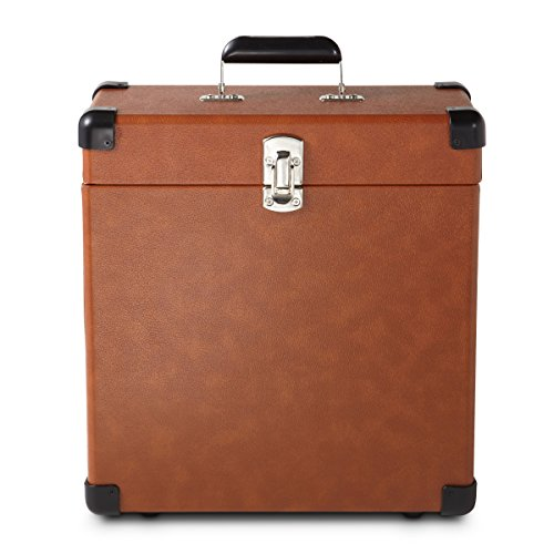 Record Case Holds (Crosley CR401-TA Record Carrier Case for 30+ Albums, Tan)