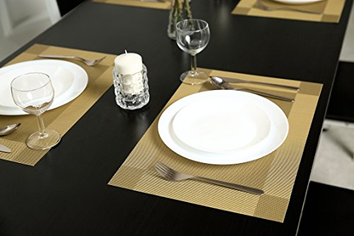 Sicohome Vinyl Placemats Gold Placemats For Dining Table