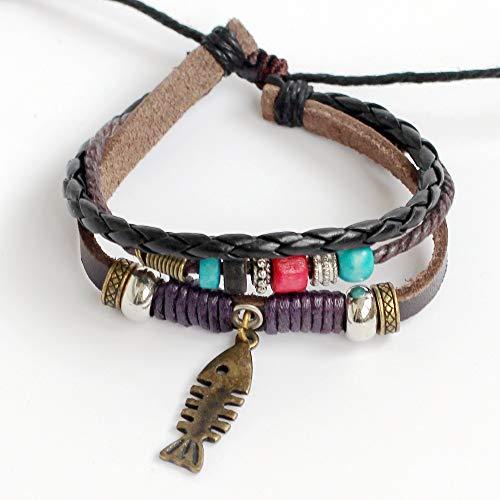 Bone Woven Leather - Men's leather bracelet Women's leather bracelet Fish bone bracelet Charm bracelet Beads bracelet Rings bracelet Ropes bracelet Braided leather bracelet Woven leather bracelet Fashion bracelet