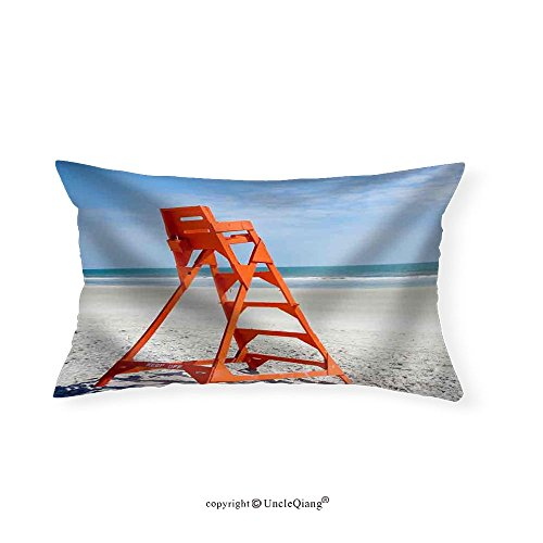 VROSELV Custom pillowcasesEmpty Life Guard Stand on the Beach - Fabric Home Decor(14''x24'') by VROSELV