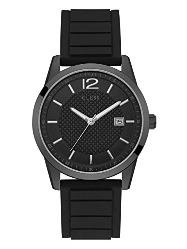 GUESS Men's Stainless Steel Casual Silicone Watch, Color: Black (Model: U0991G3)