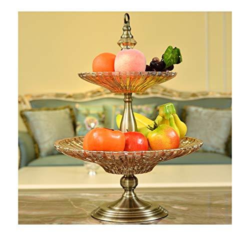 ZCYX 高級ヨーロッパ二層ガラスフルーツプレートヒョンシリーズハイエンドホームリビングルーム大フルーツプレートキャンディー皿アメリカの装飾品フルーツプレート   B07PFDBPHJ