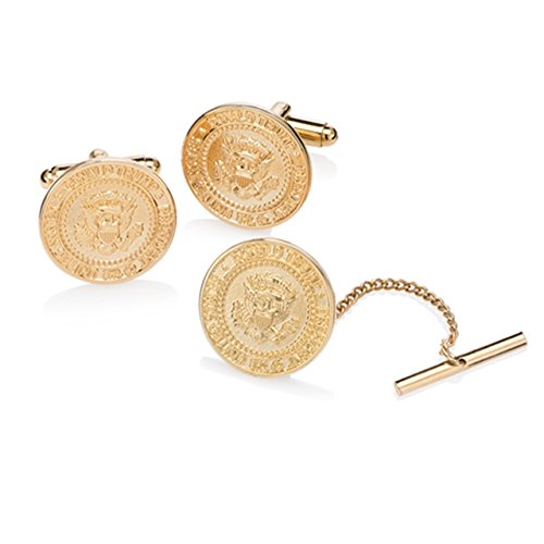 Donald J. Trump Presidential Seal Cufflinks and Tie Tack - 24K Gold Plated