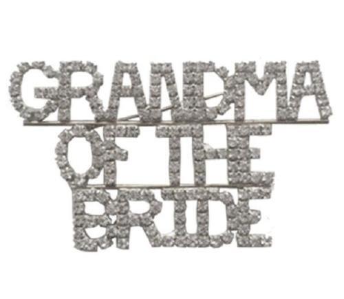 Clear Rhinestone GRANDMA OF THE BRIDE Brooch Pin
