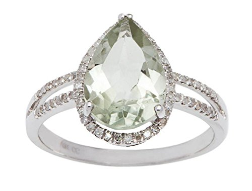 Instagems 10k White Gold 2.50ct Pear-Shaped Green Amethyst and Halo Diamond Ring (1/4 cttw)