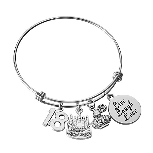 Miss Pink Expandable Wire Bangle Charm Bracelet 18th Birthday Gifts Eighteen Jewelry Gifts (Best Birthday Gift For 18 Year Girl)