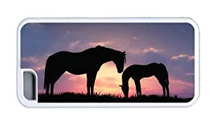 Hipster Cheap price iPhone 5C cases horses sunset silhouette White for Apple iPhone 5C