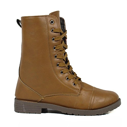 BLUE WOMENS Fashion Almond Toe Synthetic Military Mid Calf Dress Boots Millie-6 Toffee m5Our0ksOB